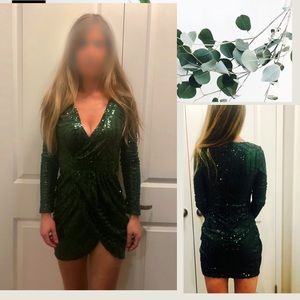 Gorgeous Emerald Green Sequin Party Dress